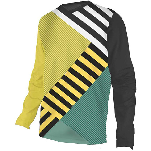 21Grams Men's Long Sleeve Cycling Jersey Downhill Jersey Dirt Bike Jersey Polyester Spandex Black / Yellow Stripes Bike Jersey Top Mountain Bike MTB Road Bike Cycling UV Resistant Breathable Quick Dry