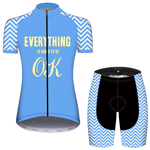 21Grams Women's Short Sleeve Cycling Jersey with Shorts Blue / White Stripes Bike Clothing Suit Breathable 3D Pad Quick Dry Ultraviolet Resistant Sweat-wicking Sports Solid Color Mountain Bike MTB