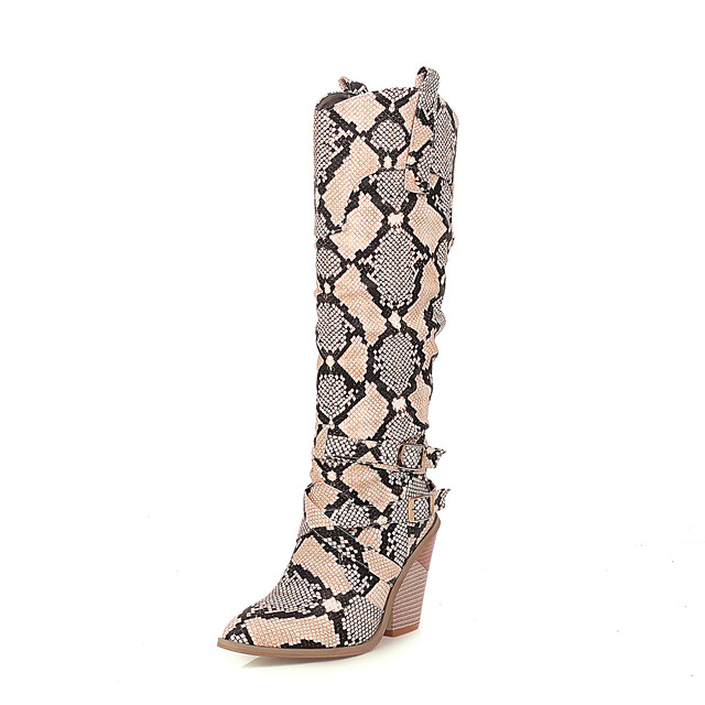Women's Boots Chunky Heel Pointed Toe PU Knee High Boots Vintage / British Fall & Winter White / Beige / Party & Evening