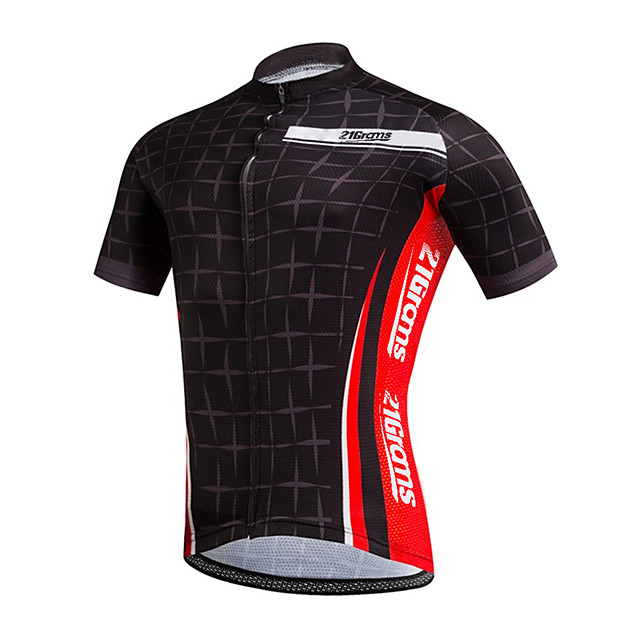 21Grams Men's Short Sleeve Cycling Jersey Black / Red Plaid / Checkered Bike Jersey Top Mountain Bike MTB Road Bike Cycling UV Resistant Breathable Quick Dry Sports Clothing Apparel / Stretchy