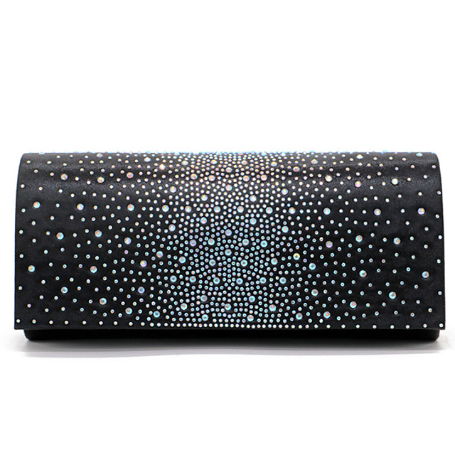 Women's Crystals Polyester Evening Bag Solid Color Black / Champagne / Blushing Pink