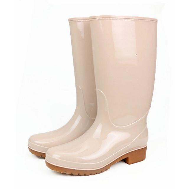 Women's Boots Flat Heel Round Toe PVC Mid-Calf Boots Spring & Summer / Fall & Winter Blue / Beige