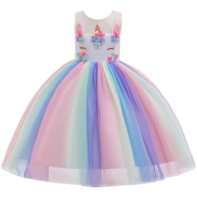 Princess Unicorn Dress Flower Girl Dress Girls' Movie Cosplay A-Line Slip Cosplay Rainbow Dress Halloween Carnival Masquerade Tulle Polyester