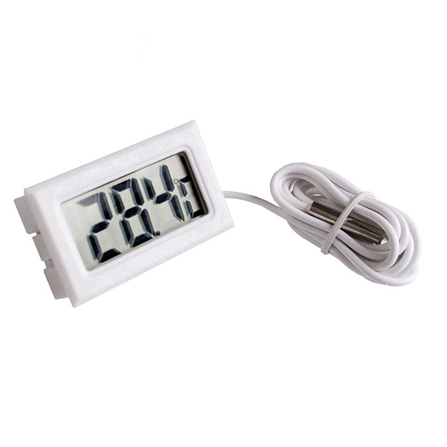 Mini Digital LCD White Thermometer With Probe Battery Outdoor Indoor Thermometer
