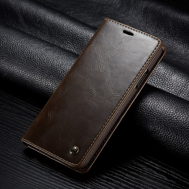 CaseMe Business Luxury Leather Magnetic Flip Case For iPhone Xs Max / X / XS With Wallet Card Slot Stand Full Body Case