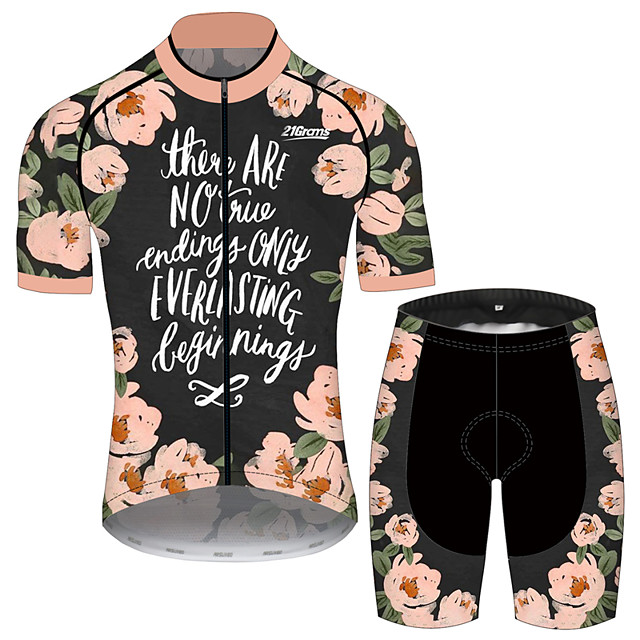 21Grams Men's Short Sleeve Cycling Jersey with Shorts Pink / Black Floral Botanical Bike Clothing Suit UV Resistant Breathable 3D Pad Quick Dry Sweat-wicking Sports Geometric Mountain Bike MTB Road