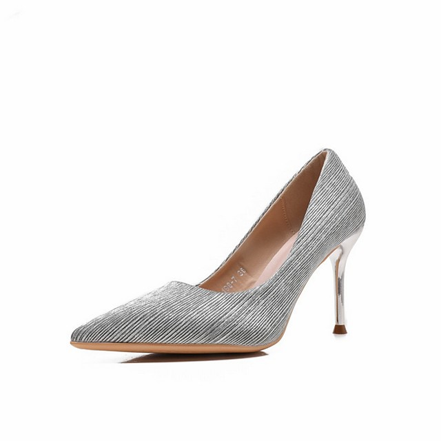 Women's Wedding Shoes Stiletto Heel Pointed Toe Microfiber Spring & Summer Pink / Silver