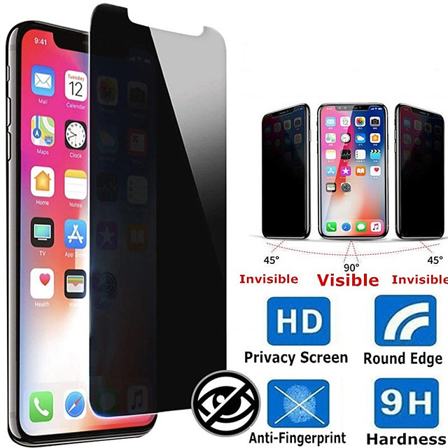 Privacy Screen Protector for iPhone 11/ iPhone Pro/ iPhone 11 Pro Max/   9H Hardness Front Screen Protector / Friendly Anti-Peeping/Anti-Spy Tempered Glass Screen Protector for iPhone Xs Max/XS/XR