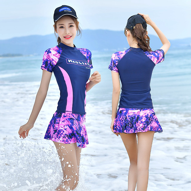 Women's Two Piece Swimsuit Elastane Swimwear UV Sun Protection Breathable Quick Dry Short Sleeve Swimming Water Sports Patchwork Spring / High Elasticity