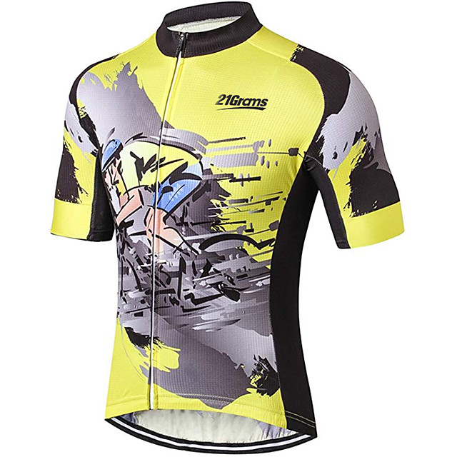 21Grams Men's Short Sleeve Cycling Jersey Black / Orange Bike Jersey Top Mountain Bike MTB Road Bike Cycling UV Resistant Breathable Quick Dry Sports Clothing Apparel / Stretchy / Race Fit