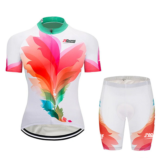21Grams Women's Short Sleeve Cycling Jersey with Shorts Pink+Green Gradient Bike Clothing Suit Breathable 3D Pad Quick Dry Ultraviolet Resistant Sweat-wicking Sports Solid Color Mountain Bike MTB