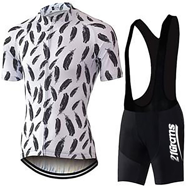 21Grams Men's Short Sleeve Cycling Jersey with Bib Shorts Black / White Bike Clothing Suit UV Resistant Breathable 3D Pad Quick Dry Sweat-wicking Sports Solid Color Mountain Bike MTB Road Bike Cycling