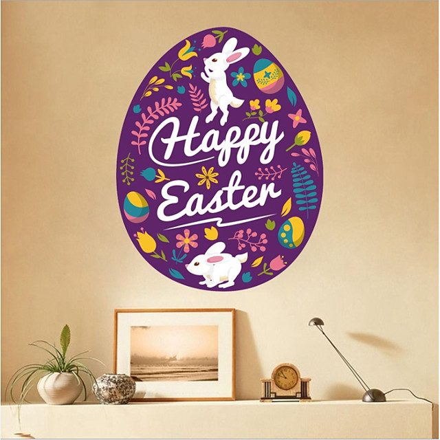 Happy Easter bunny egg flower Decorative Wall Stickers - Plane Wall Stickers Holiday Indoor