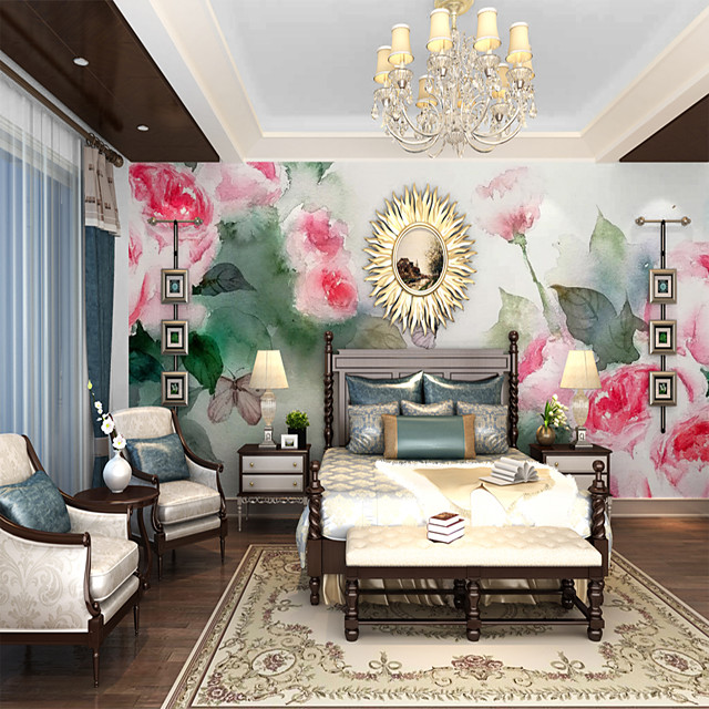 Custom self-adhesive mural wallpaper hand-painted rose  suitable for bedroom living room  coffee shop  restaurant  hotel wall decoration art  Wallpaper / Mural / Wall Cloth Room Wallcovering