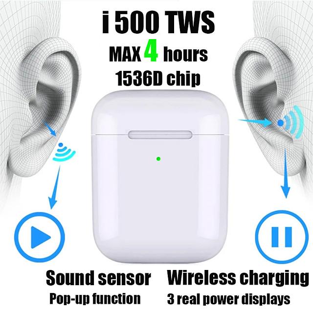 New i500 TWS 2 1 to 1 Replica Bluetooth Headset Wireless headset 6D subwoofer sound sensor with wireless charging headset pk i100 i200 i1000 tws W1 / H1 chip
