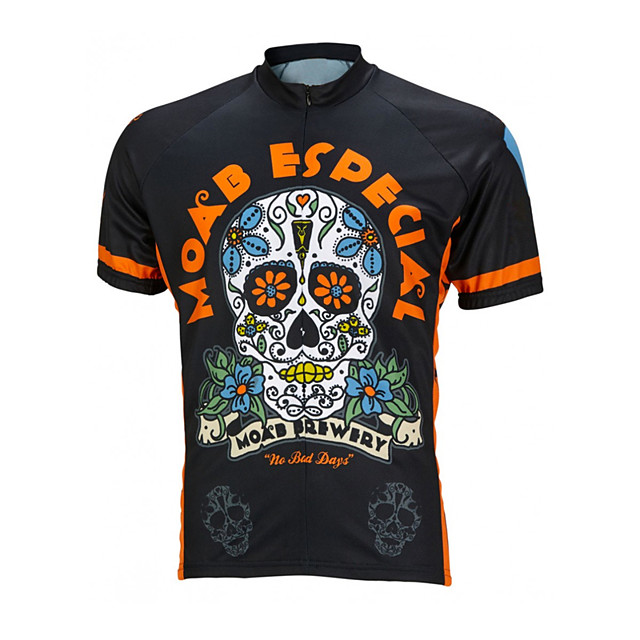 21Grams Men's Short Sleeve Cycling Jersey Black / Orange Skull Floral Botanical Bike Jersey Top Mountain Bike MTB Road Bike Cycling UV Resistant Breathable Quick Dry Sports Clothing Apparel