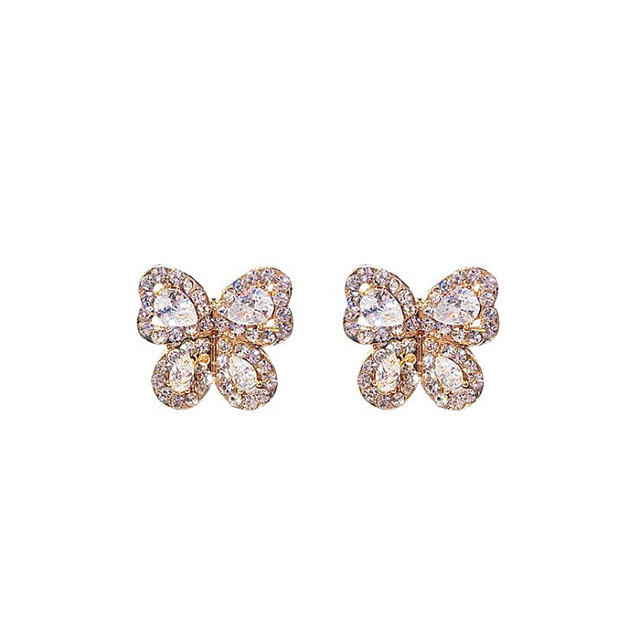Women's Cubic Zirconia Stud Earrings Classic Butterfly Fashion Cute Earrings Jewelry Rose Gold / Gold / Silver For Daily Festival 1 Pair