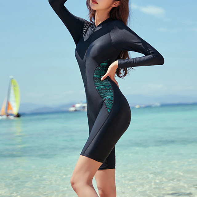 Women's Rash Guard Dive Skin Suit Bodysuit UV Sun Protection Breathable Long Sleeve Front Zip - Swimming Diving Water Sports Patchwork Autumn / Fall Spring Summer