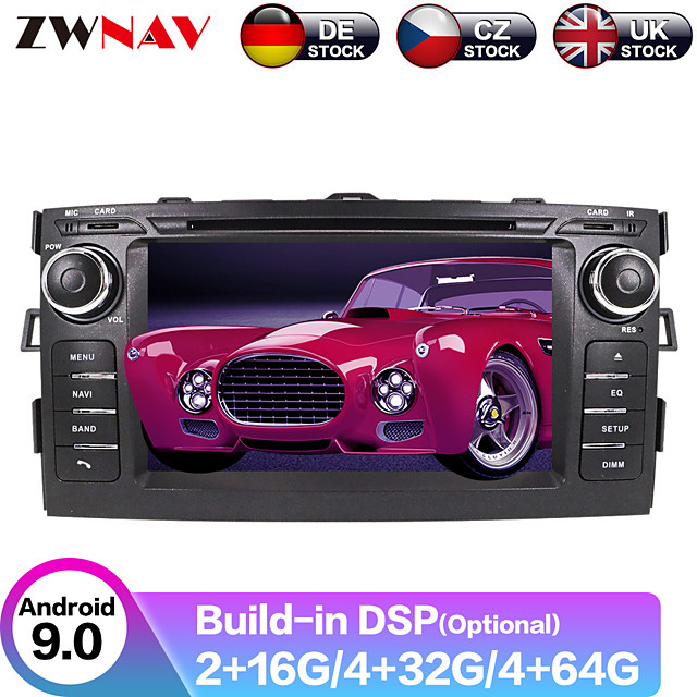 ZWNAV 7inch 2din DSP Android 9.0 4GB 64GB Car DVD Player Car GPS navigation Car Auto Stereo Headunit Satnav car Multimedia Player For Toyota Auris 2006-2012