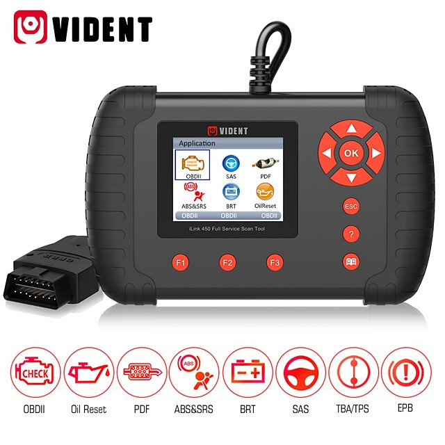 Vident iLink450 Full Service OBD2 Scan Tool Live Data EPB Oil Service ABS SRS Reset Battery Configuration etc