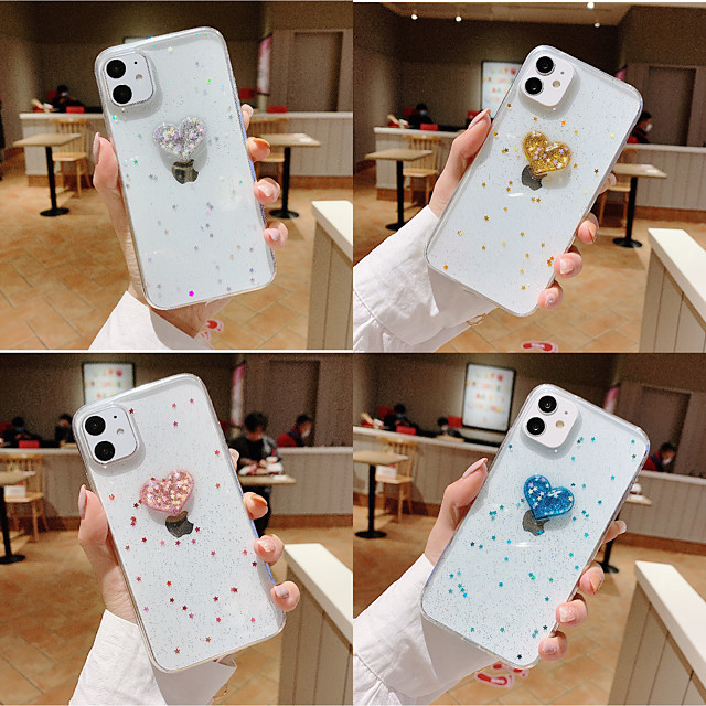 Case For Apple iPhone 11 / iPhone 11 Pro / iPhone 11 Pro Max Shockproof / Pattern Back Cover Heart / Transparent / 3D Cartoon PC