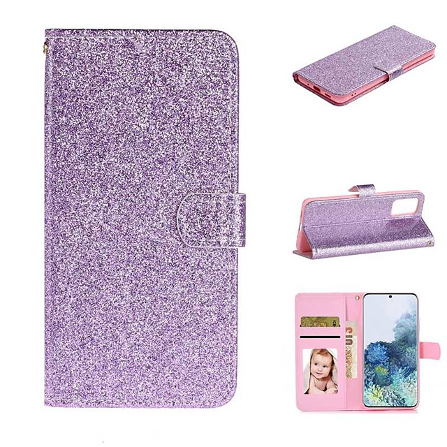 Case For Samsung Galaxy Galaxy A20e / Galaxy Note 10 / Galaxy Note 10 Plus Wallet / Card Holder / with Stand Full Body Cases Solid Colored / Glitter Shine PU Leather