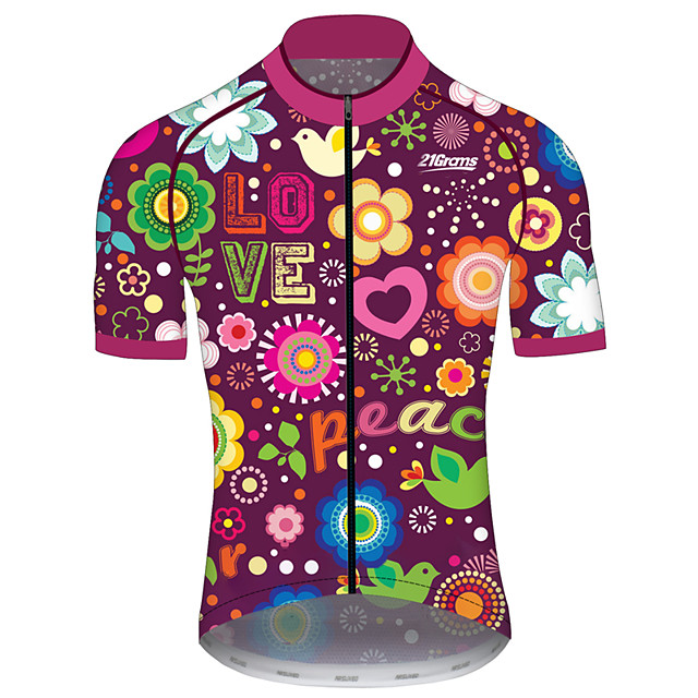 21Grams Men's Women's Short Sleeve Cycling Jersey Spandex Polyester Purple Funny Bike Jersey Top Mountain Bike MTB Road Bike Cycling UV Resistant Breathable Quick Dry Sports Clothing Apparel