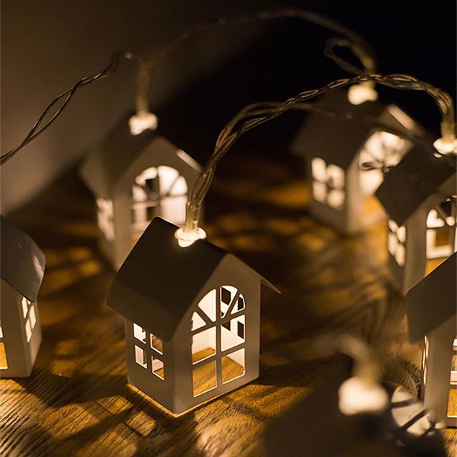 LED Small House Light String Nordic Christmas Decoration Light Wooden House Light String