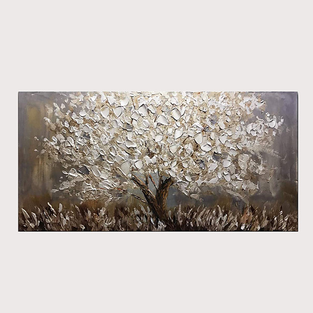 Oil Painting Abstract Silver Tree 3D Hand Painted on Canvas Texture Palette Knife Paintings with Stretched Frame for Home Decor