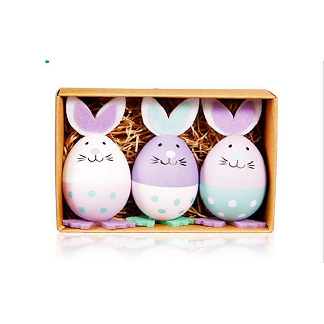 Happy Easter bunny egg Holiday Decorations objects 1 set