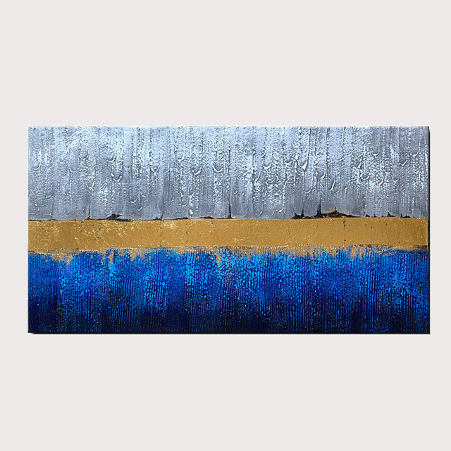 Handmade Blue Gray and Gold Color Abstract Decorative Artwork Textured Modern Oil Painting on Canvas For Wall Art