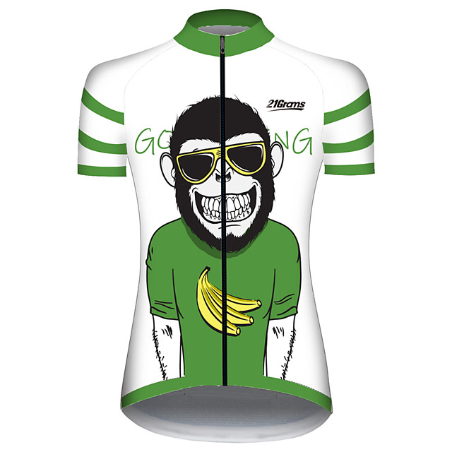 21Grams Women's Short Sleeve Cycling Jersey Green / Black Animal Monkey Banana Bike Jersey Top Mountain Bike MTB Road Bike Cycling UV Resistant Breathable Quick Dry Sports Clothing Apparel / Stretchy
