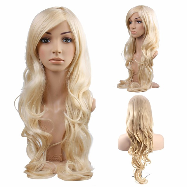 Synthetic Wig Curly Body Wave Halloween Asymmetrical Wig Blonde Long Light Blonde Synthetic Hair 34 inch Women's Best Quality Blonde