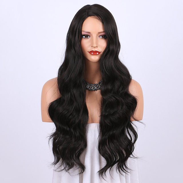 Synthetic Wig Curly Body Wave Halloween Asymmetrical Wig Long Natural Black Synthetic Hair 24 inch Women's Best Quality Black