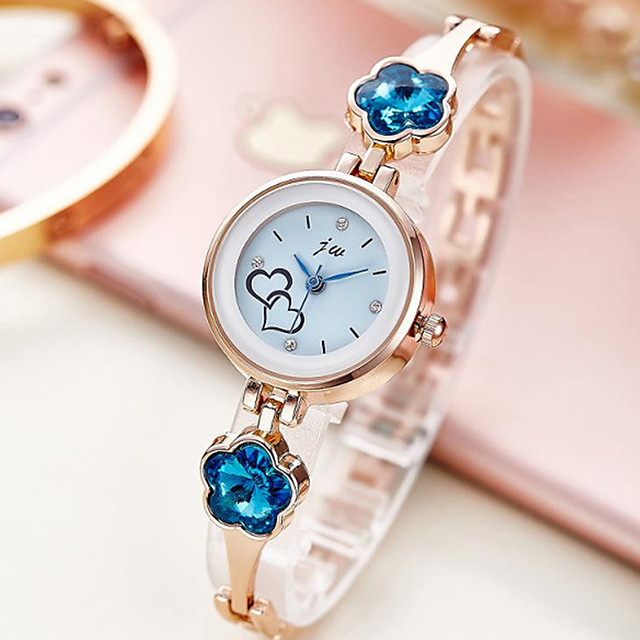 Women's Steel Band Watches Luxury New Arrival Silver Rose Gold Stainless Steel Chinese Quartz Rose Gold White+Blue White Chronograph New Design Casual Watch 1 pc Analog One Year Battery Life