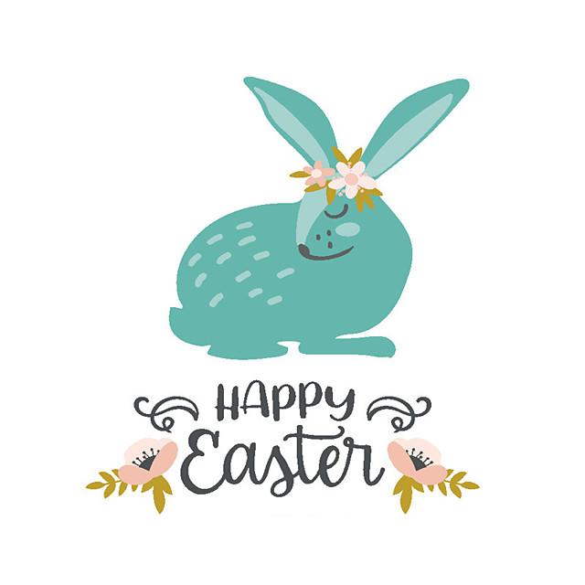 Easter Rabbit / Flowers Wall Stickers Plane Wall Stickers Decorative Wall Stickers PVC Home Decoration Wall Decal Wall / Window Decoration 1pc