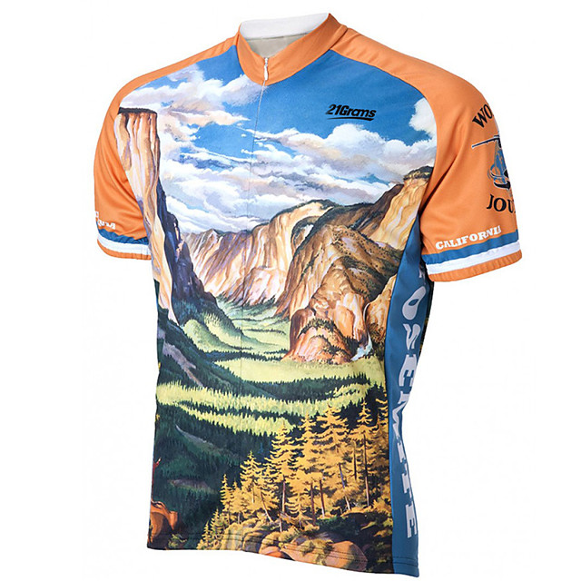 21Grams Men's Short Sleeve Cycling Jersey Orange+White Bike Jersey Top Mountain Bike MTB Road Bike Cycling UV Resistant Breathable Quick Dry Sports Clothing Apparel / Stretchy / Race Fit