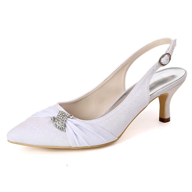 Women's Wedding Shoes Stiletto Heel Pointed Toe Rhinestone Synthetics Minimalism Spring & Summer White / Champagne / Light Purple / Party & Evening