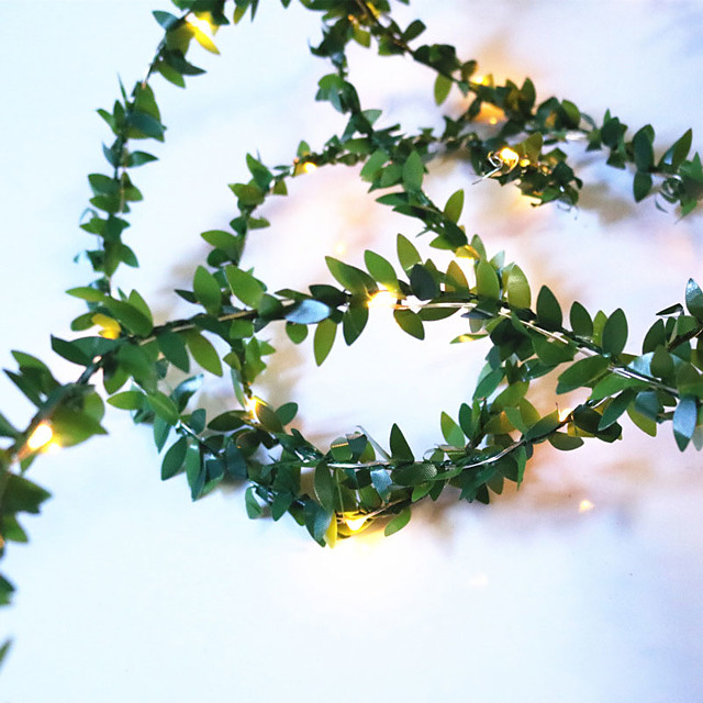3M Artificial Plants Led String Light Creeper Green Leaf Ivy Vine For Home Wedding Decor Lamp DIY Hanging Garden Yard Lighting Powered By AAA Battery Box 1 set