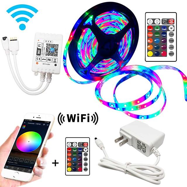 5m Flexible LED Strip Lights RGB Tiktok Lights WIFI Controls 270 LEDs SMD3528 8mm IP65 Waterproof 1 x 2A power adapter 1 set RGB Change Christmas New Year's Decorative