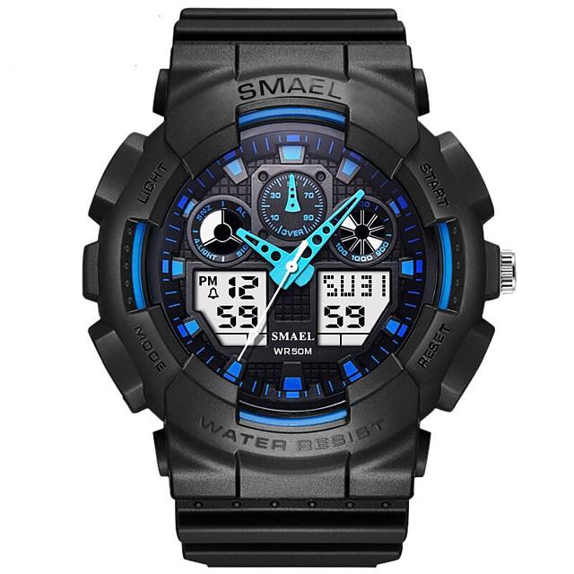 Men's Sport Watch Japanese Automatic self-winding PU Leather Black 30 m Water Resistant / Waterproof Calendar / date / day Alarm Clock Analog - Digital Casual Outdoor - Black Blue Green One Year