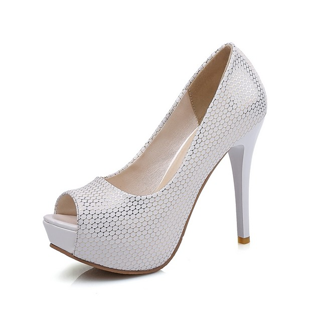 Women's Wedding Shoes Stiletto Heel Peep Toe Microfiber Spring & Summer Black / White / Pink