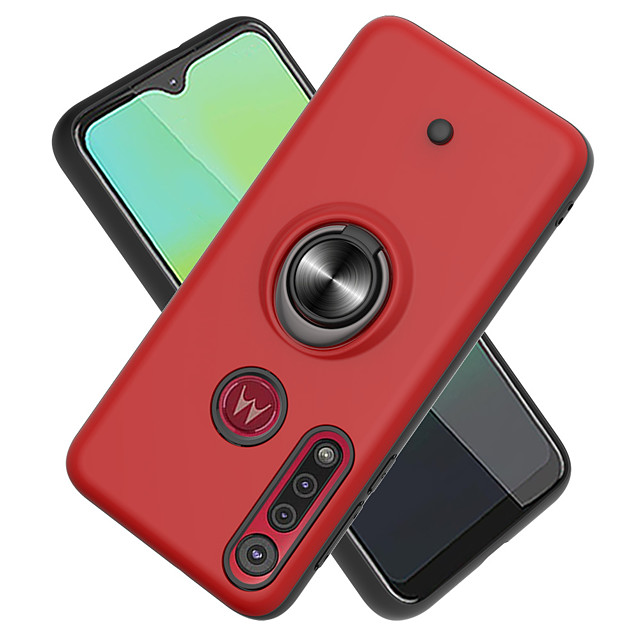 Case For Motorola MOTO G8PLUS / MOTO G8PLAY 360° Rotation / Shockproof / Ring Holder Back Cover Solid Colored TPU / PC