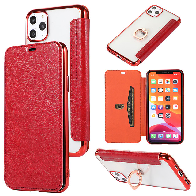 Case For Apple iPhone 11 / iPhone 11 Pro / iPhone 11 Pro Max /6/6p/7/8/7p/8p/x/xr/xsmax Card Holder / Dustproof / with Stand Back Cover Transparent / Solid Colored PU Leather / TPU