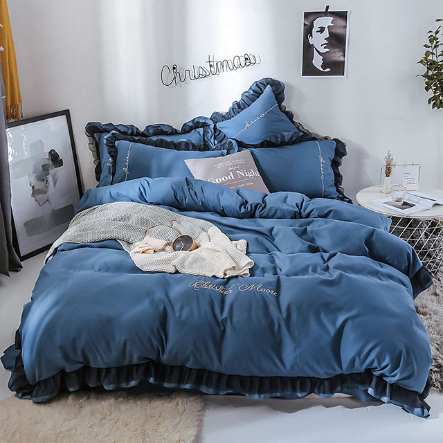 Goddess Small Money Lace Decorative Matte Quilt Cover Embroidery Four Piece Bedding Sheet Blue