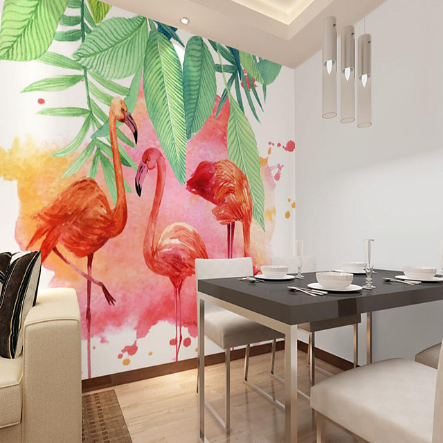 Custom Self-adhesive Mural Wallpaper Flamingo Is Suitable For Bedroom Living Room Coffee Shop Restaurant Hotel Wall Decoration Art Room Wallcovering