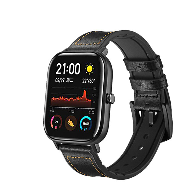 20mm Metal Buckle Smart Watch Wristband for Amazfit GTS Xiaomi Silicone And Leather Wrist Strap