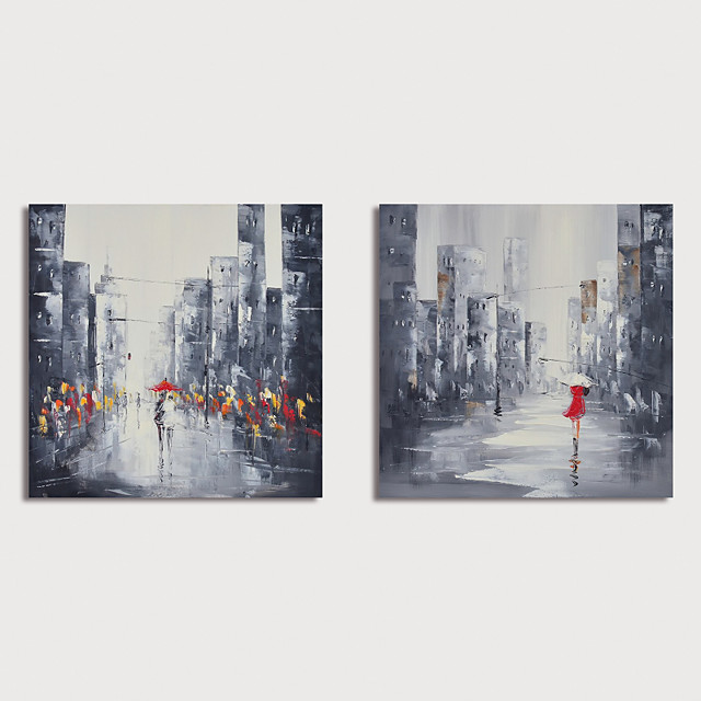 Hand Painted Canvas Oilpainting Abstract Street Landscape Set of 2 Home Decoration with Frame Painting Ready to Hang