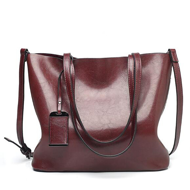 Women's PU Top Handle Bag Solid Color Wine / Brown / Black
