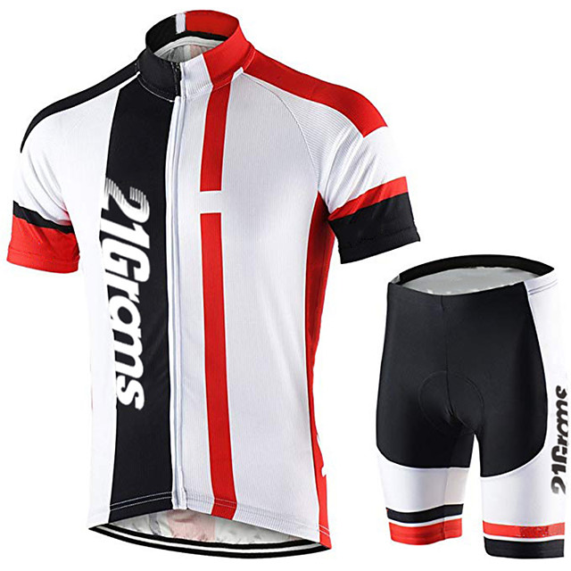 21Grams Men's Short Sleeve Cycling Jersey with Shorts Polyester Spandex Black / White Bike Clothing Suit UV Resistant Breathable 3D Pad Quick Dry Sweat-wicking Sports Solid Color Mountain Bike MTB